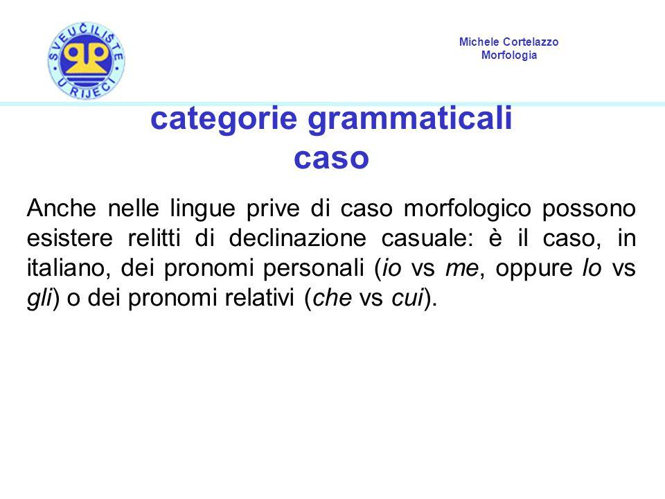 Michele Cortelazzo Morfologia categorie grammaticali caso Anche nelle lingue prive di caso morfologico possono esistere relitti di declinazione casual