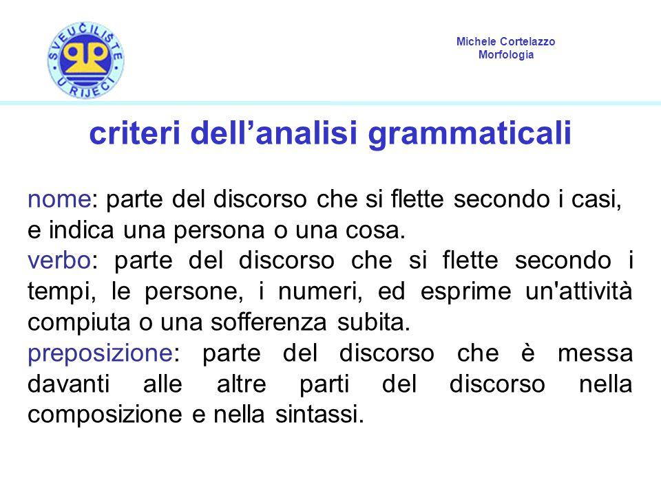 Michele Cortelazzo Morfologia criteri dell'analisi grammaticali nome: parte del discorso che si flette secondo i casi, e indica una persona o una cosa
