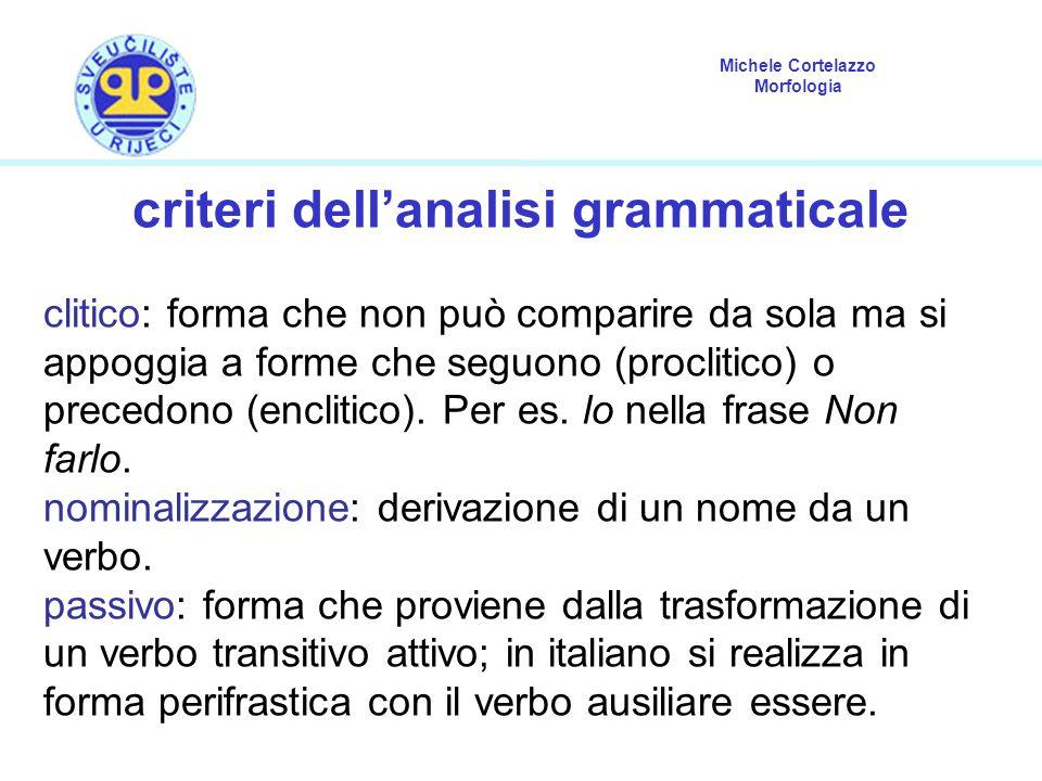 Michele Cortelazzo Morfologia criteri dell'analisi grammaticale clitico: forma che non può comparire da sola ma si appoggia a forme che seguono (procl