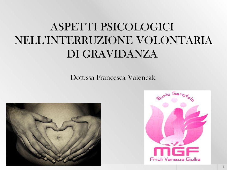 1 ASPETTI PSICOLOGICI NELL'INTERRUZIONE VOLONTARIA DI GRAVIDANZA Dott.ssa Francesca Valencak