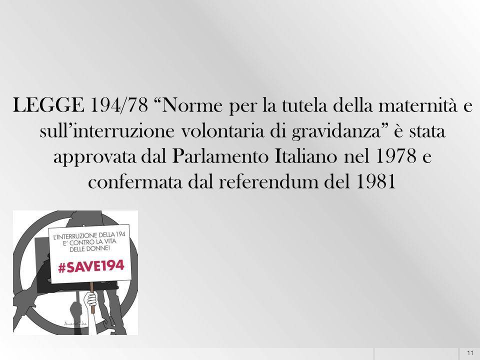 """11 LEGGE 194/78 """"Norme per la tutela della maternità e sull'interruzione volontaria di gravidanza"""" è stata approvata dal Parlamento Italiano nel 1978"""