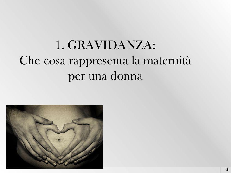 2 1. GRAVIDANZA: Che cosa rappresenta la maternità per una donna