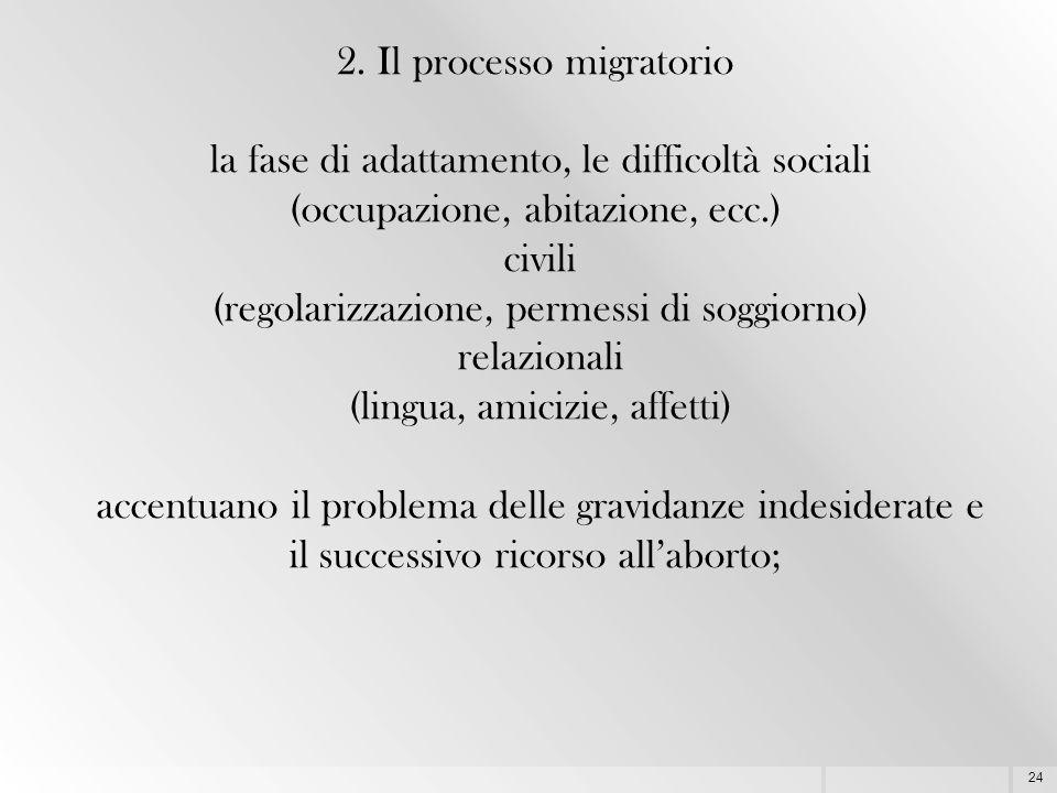 24 2. Il processo migratorio la fase di adattamento, le difficoltà sociali (occupazione, abitazione, ecc.) civili (regolarizzazione, permessi di soggi