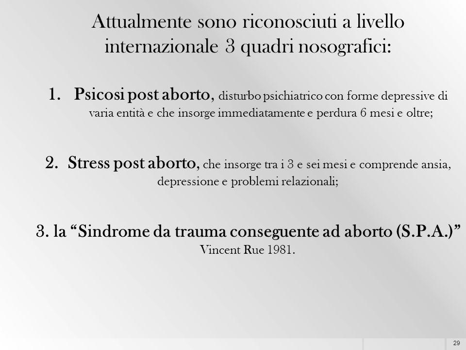 29 Attualmente sono riconosciuti a livello internazionale 3 quadri nosografici: 1.Psicosi post aborto, disturbo psichiatrico con forme depressive di v