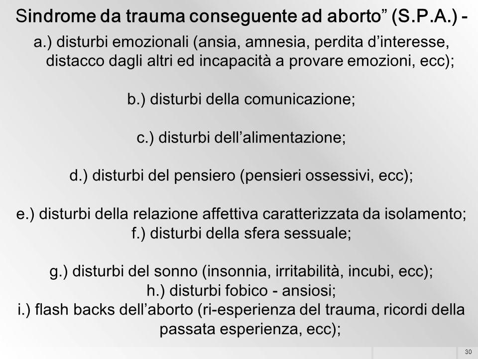 """30 Sindrome da trauma conseguente ad aborto"""" (S.P.A.) - a.) disturbi emozionali (ansia, amnesia, perdita d'interesse, distacco dagli altri ed incapaci"""
