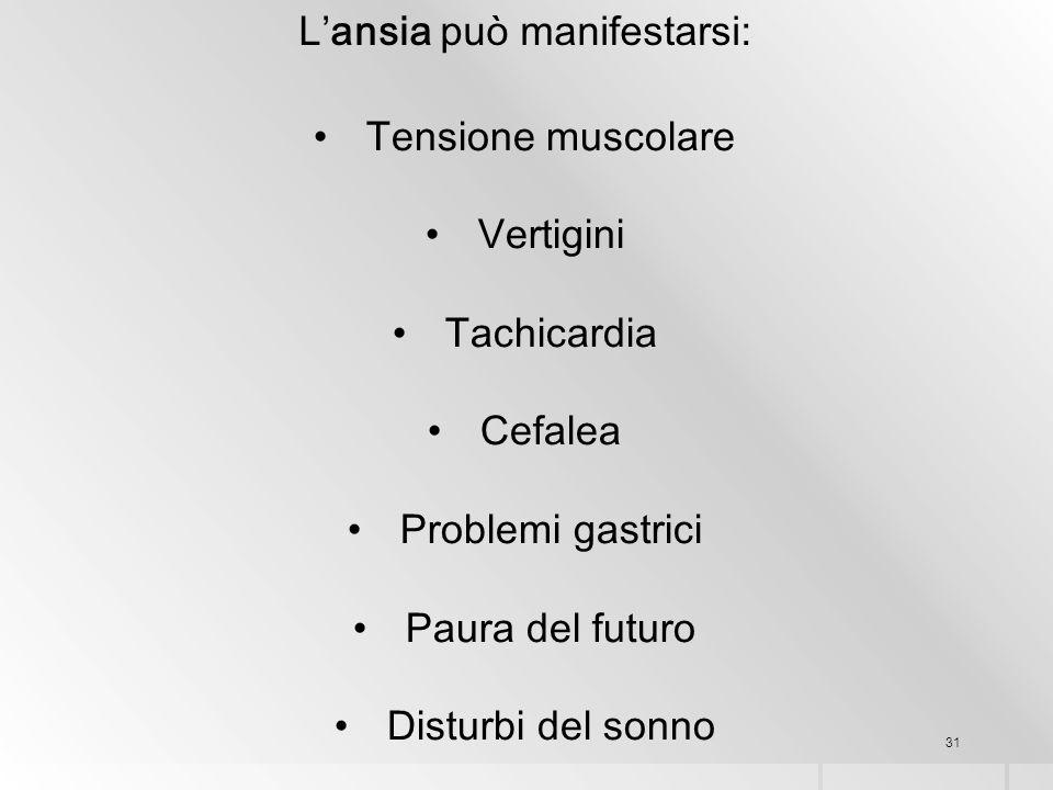 31 L'ansia può manifestarsi: Tensione muscolare Vertigini Tachicardia Cefalea Problemi gastrici Paura del futuro Disturbi del sonno