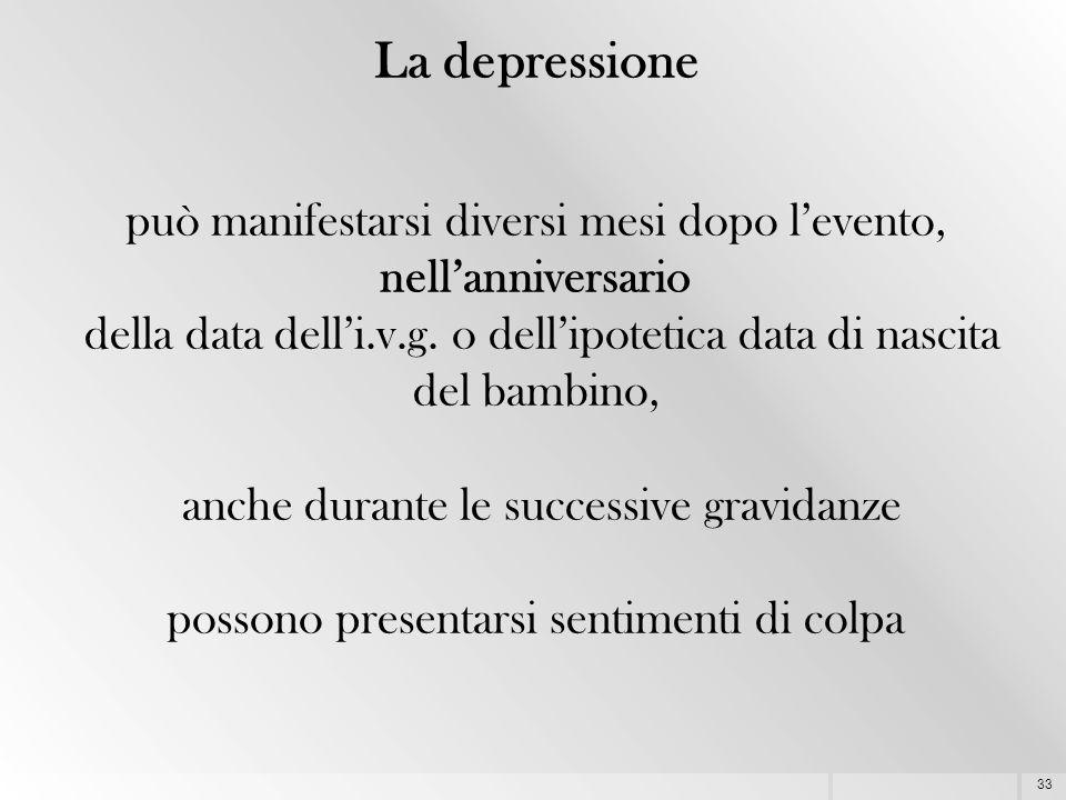 33 La depressione può manifestarsi diversi mesi dopo l'evento, nell'anniversario della data dell'i.v.g. o dell'ipotetica data di nascita del bambino,