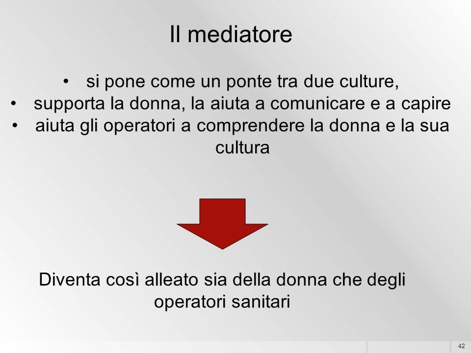 42 Il mediatore si pone come un ponte tra due culture, supporta la donna, la aiuta a comunicare e a capire aiuta gli operatori a comprendere la donna