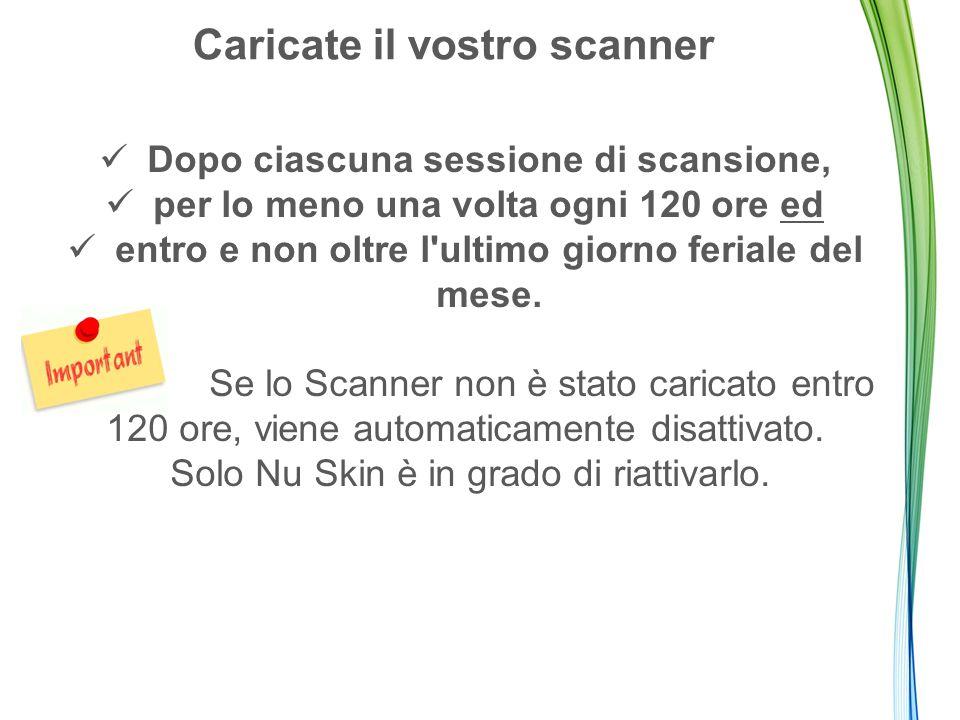Caricate il vostro scanner Dopo ciascuna sessione di scansione, per lo meno una volta ogni 120 ore ed entro e non oltre l ultimo giorno feriale del mese.