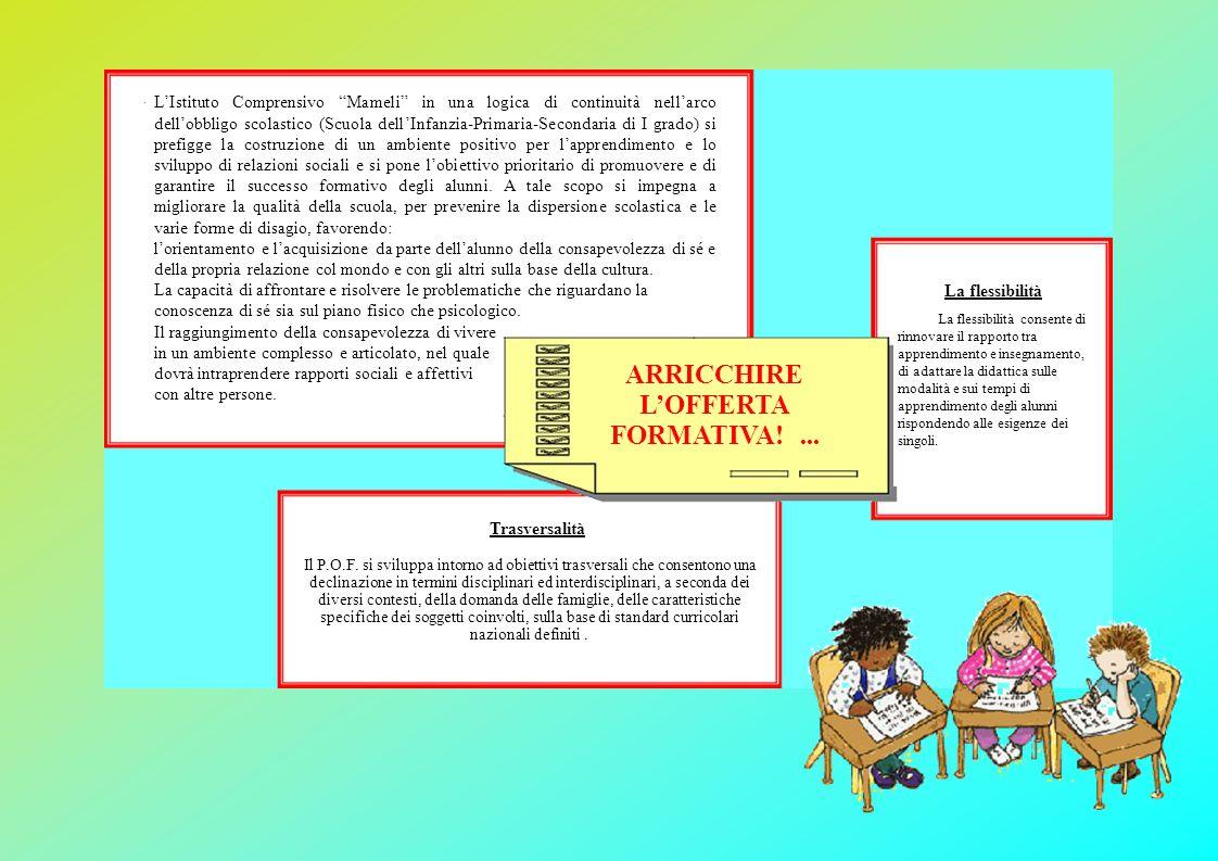 """L'Istituto Comprensivo """"Mameli"""" in una logica di continuità nell'arco dell'obbligo scolastico (Scuola dell'Infanzia-Primaria-Secondaria di I grado) si"""