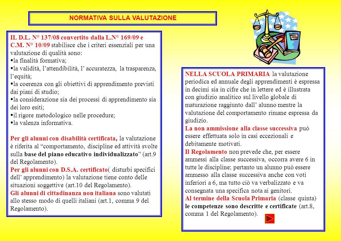 NORMATIVA SULLA VALUTAZIONE IL D.L. N° 137/08 convertito dalla L.N° 169/09 e C.M. N° 10/09 stabilisce che i criteri essenziali per una valutazione di