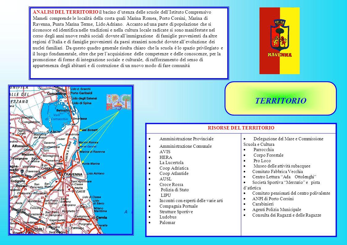 ANALISI DEL TERRITORIO il bacino d'utenza delle scuole dell'Istituto Comprensivo Mameli comprende le località della costa quali Marina Romea, Porto Corsini, Marina di Ravenna, Punta Marina Terme, Lido Adriano.