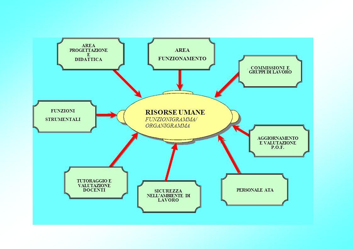 FUNZIONI STRUMENTALI AREA PROGETTAZIONE E DIDATTICA TUTORAGGIO E VALUTAZIONE DOCENTI SICUREZZA NELL'AMBIENTE DI LAVORO RISORSE UMANE FUNZIONIGRAMMA/ O