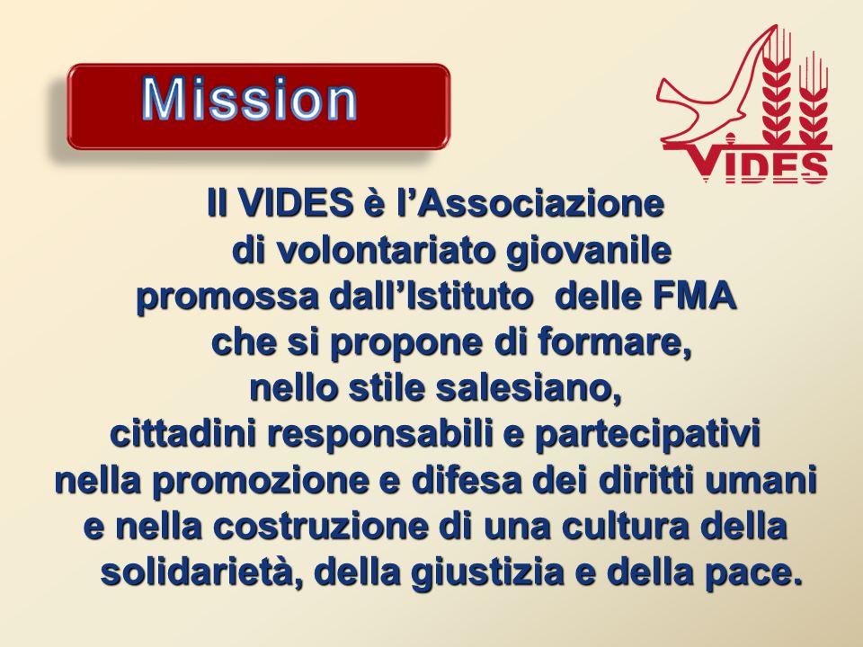 Il VIDES è l'Associazione di volontariato giovanile promossa dall'Istituto delle FMA che si propone di formare, nello stile salesiano, cittadini responsabili e partecipativi nella promozione e difesa dei diritti umani e nella costruzione di una cultura della solidarietà, della giustizia e della pace.