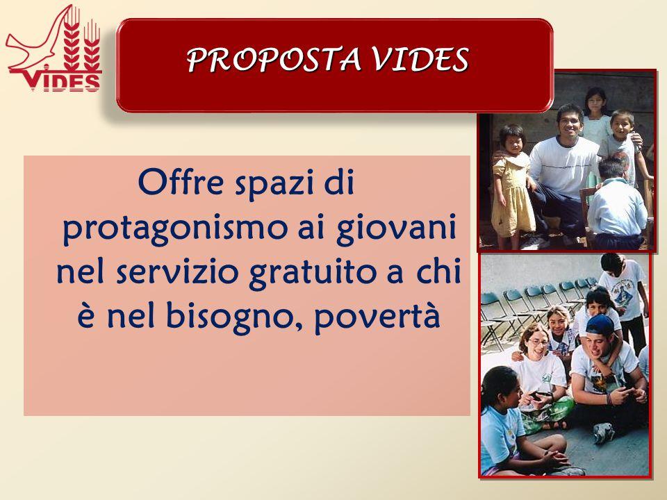 Offre spazi di protagonismo ai giovani nel servizio gratuito a chi è nel bisogno, povertà PROPOSTA VIDES