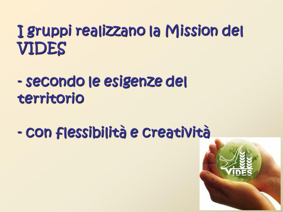 I gruppi realizzano la Mission del VIDES - secondo le esigenze del territorio - con flessibilità e creatività