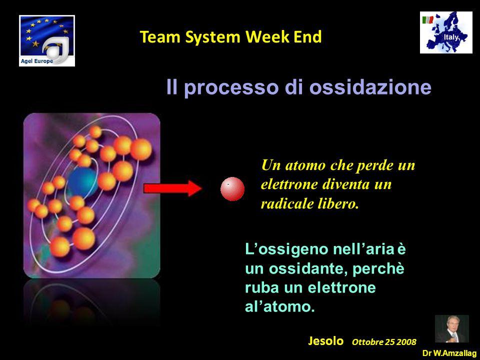 Dr W.Amzallag Jesolo Ottobre 25 2008 5 Team System Week End Perdendo l'elettrone, l'atomo diventa aggressivo con le cellule.