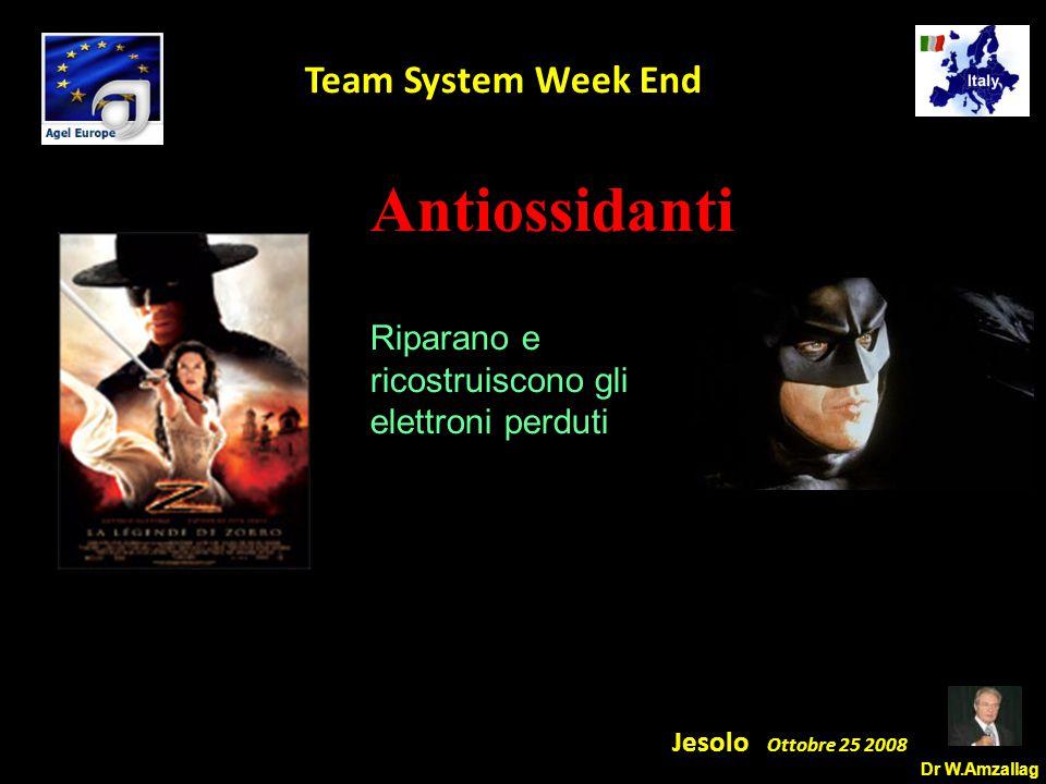 Dr W.Amzallag Jesolo Ottobre 25 2008 5 Team System Week End Antiossidanti Riparano e ricostruiscono gli elettroni perduti