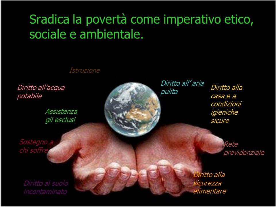 Sradica la povertà come imperativo etico, sociale e ambientale.