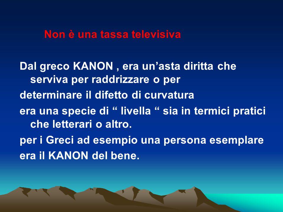 Non è una tassa televisiva Dal greco KANON, era un'asta diritta che serviva per raddrizzare o per determinare il difetto di curvatura era una specie d