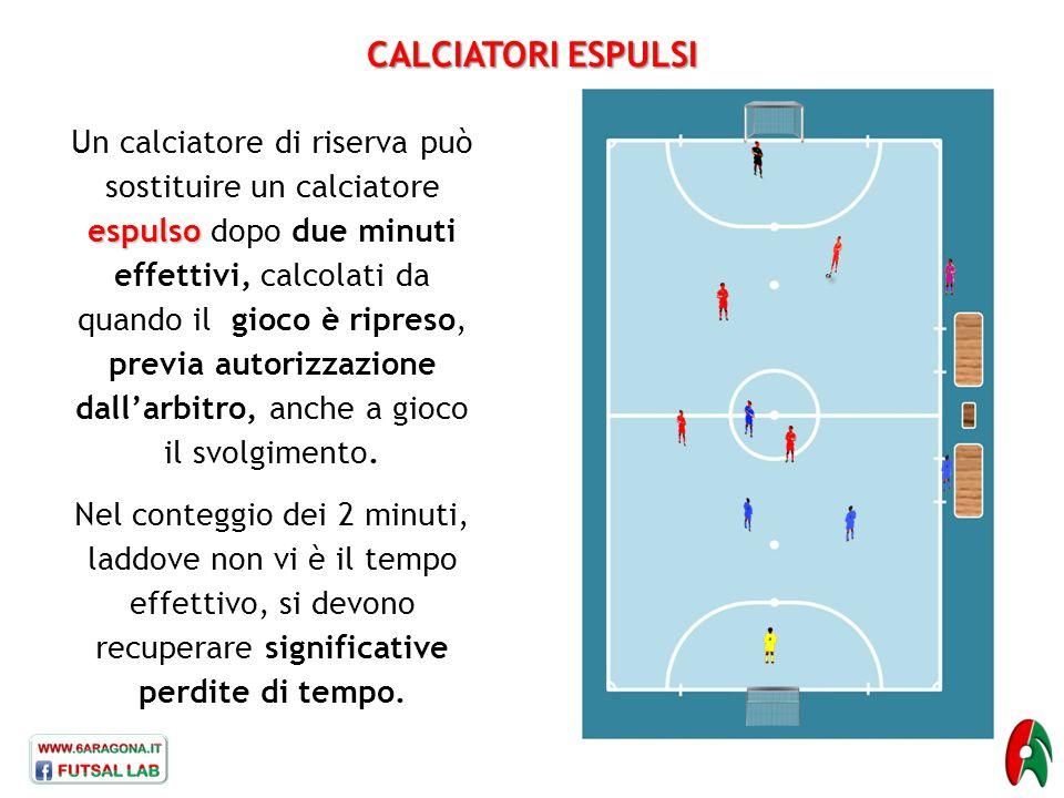 CALCIATORI ESPULSI espulso Un calciatore di riserva può sostituire un calciatore espulso dopo due minuti effettivi, calcolati da quando il gioco è rip