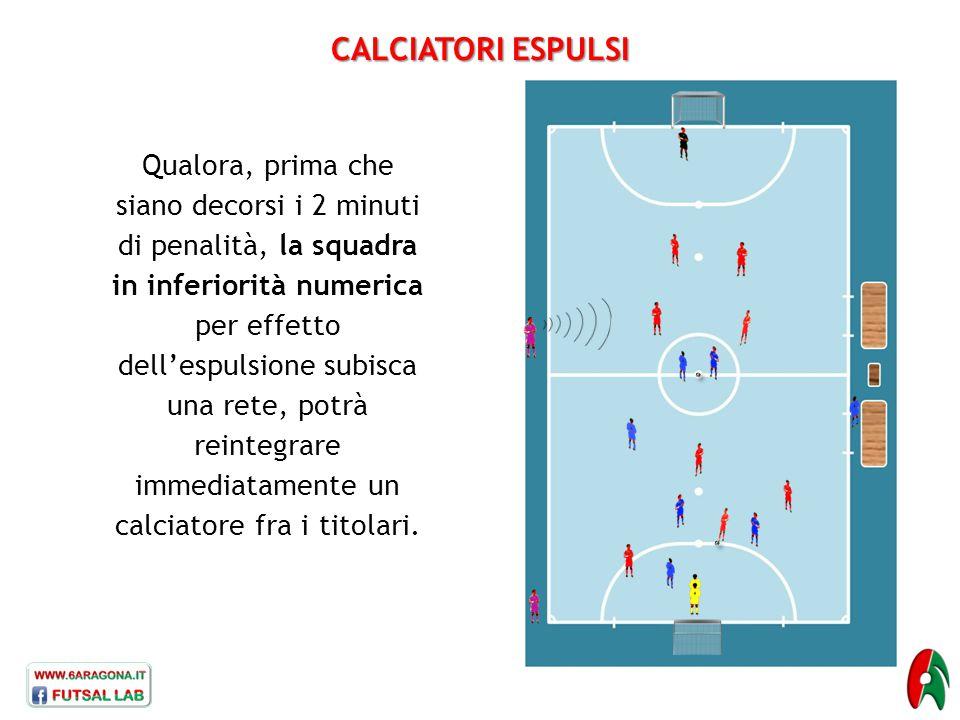 CALCIATORI ESPULSI Qualora, prima che siano decorsi i 2 minuti di penalità, la squadra in inferiorità numerica per effetto dell'espulsione subisca una