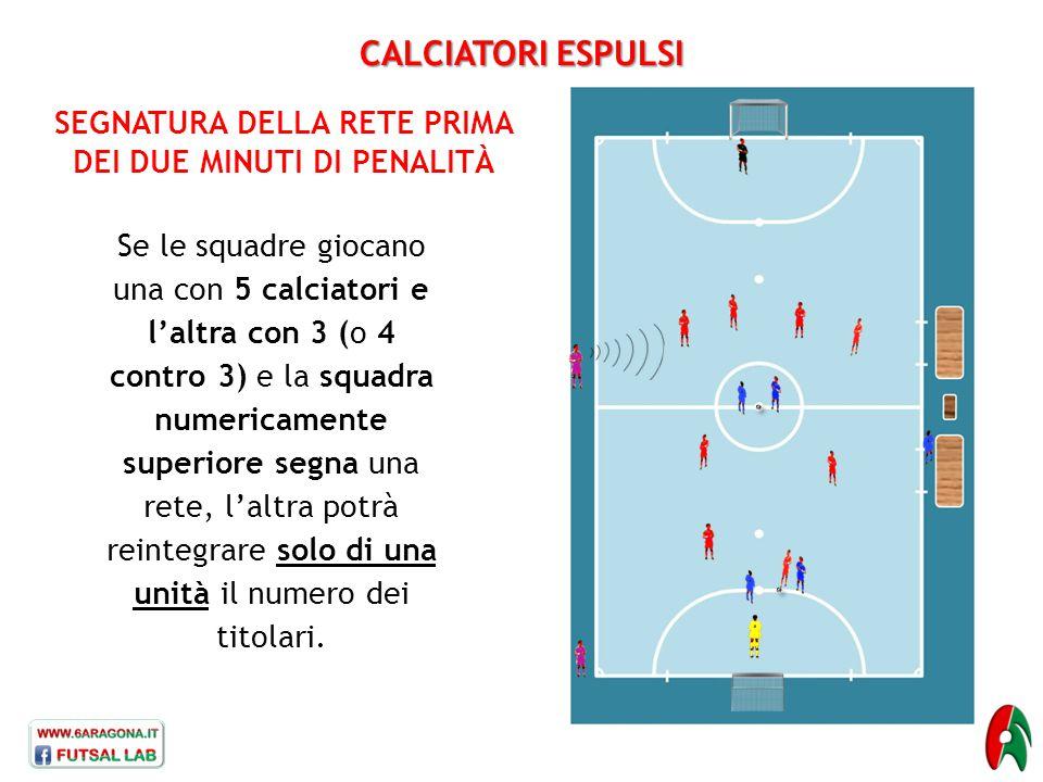 CALCIATORI ESPULSI SEGNATURA DELLA RETE PRIMA DEI DUE MINUTI DI PENALITÀ Se le squadre giocano una con 5 calciatori e l'altra con 3 (o 4 contro 3) e l