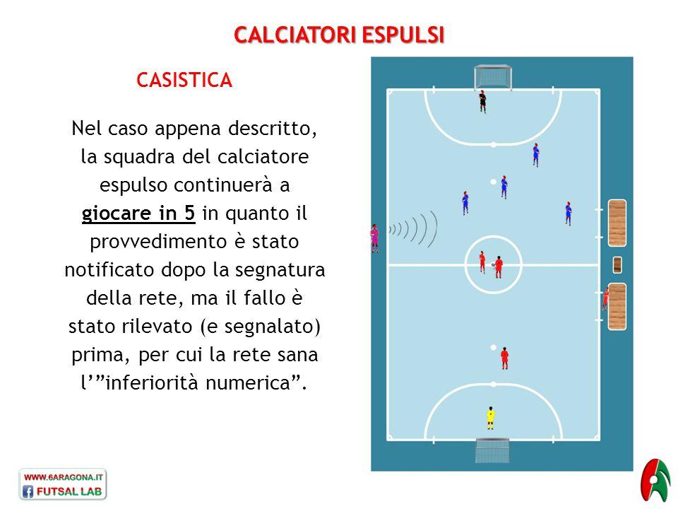 CALCIATORI ESPULSI CASISTICA Nel caso appena descritto, la squadra del calciatore espulso continuerà a giocare in 5 in quanto il provvedimento è stato