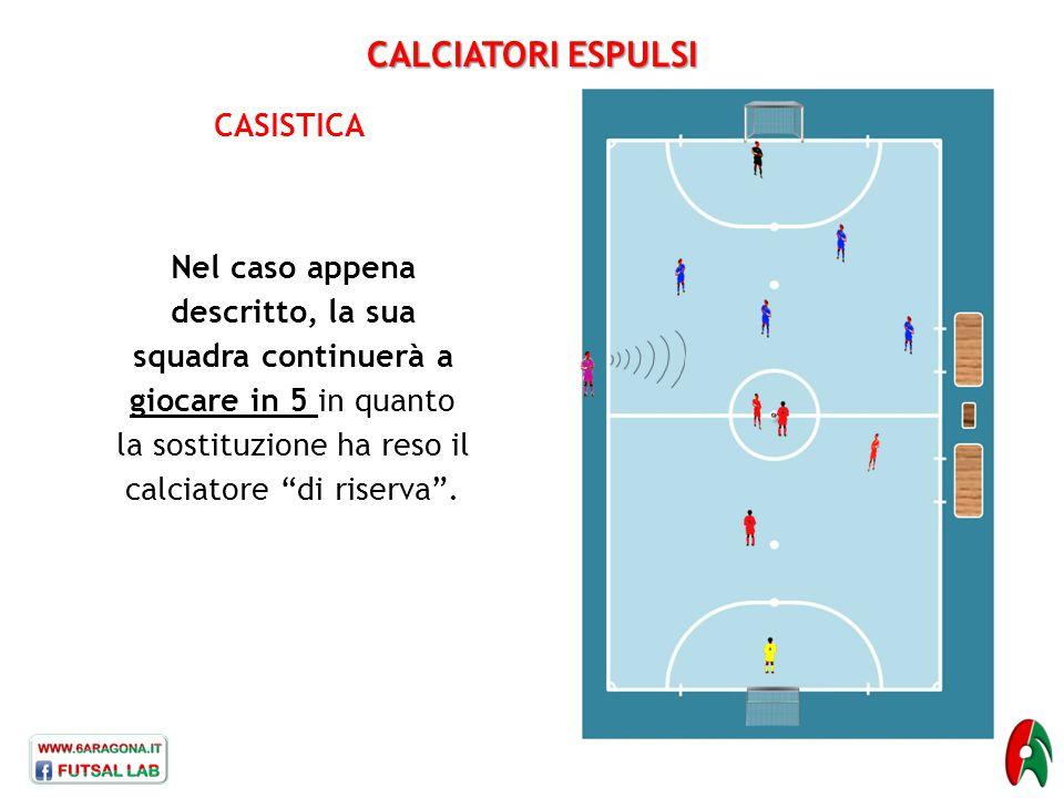 """CALCIATORI ESPULSI CASISTICA Nel caso appena descritto, la sua squadra continuerà a giocare in 5 in quanto la sostituzione ha reso il calciatore """"di r"""