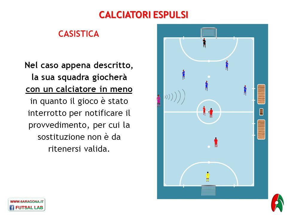 CALCIATORI ESPULSI CASISTICA Nel caso appena descritto, la sua squadra giocherà con un calciatore in meno in quanto il gioco è stato interrotto per no