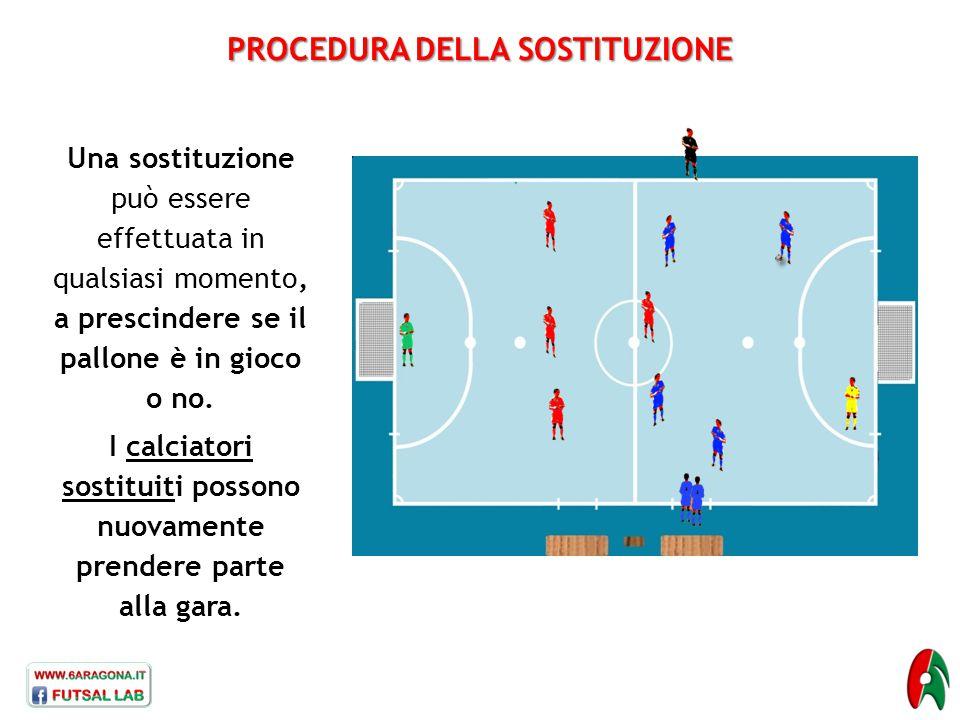 Una sostituzione può essere effettuata in qualsiasi momento, a prescindere se il pallone è in gioco o no. I calciatori sostituiti possono nuovamente p