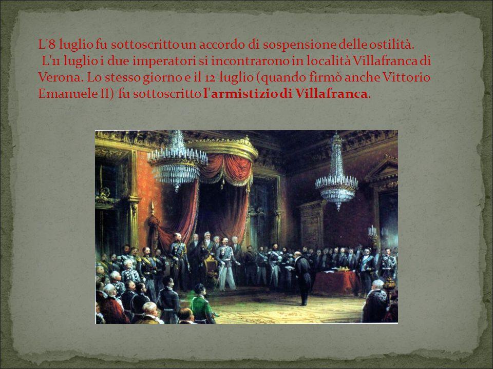 L 8 luglio fu sottoscritto un accordo di sospensione delle ostilità.