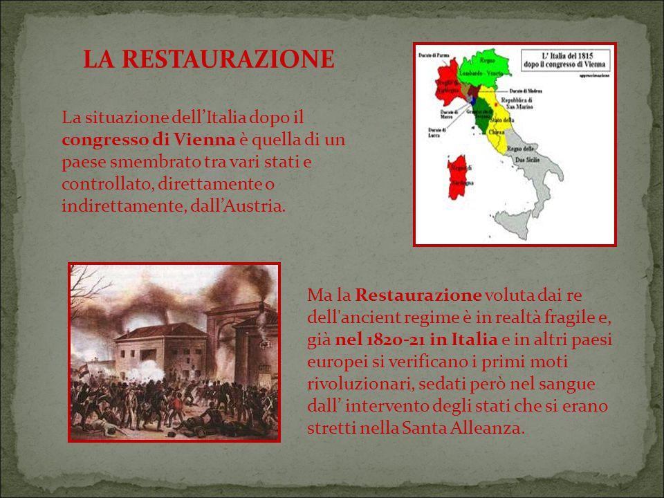 La situazione dell'Italia dopo il congresso di Vienna è quella di un paese smembrato tra vari stati e controllato, direttamente o indirettamente, dall'Austria.