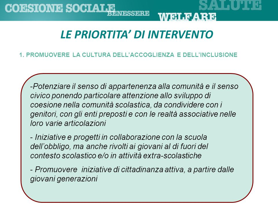 LE PRIORTITA' DI INTERVENTO 1.