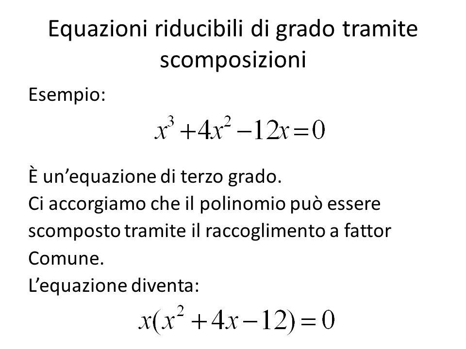 Equazioni riducibili di grado tramite scomposizioni Esempio: È un'equazione di terzo grado. Ci accorgiamo che il polinomio può essere scomposto tramit