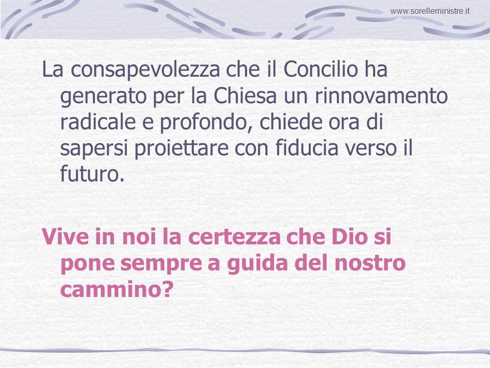 La consapevolezza che il Concilio ha generato per la Chiesa un rinnovamento radicale e profondo, chiede ora di sapersi proiettare con fiducia verso il futuro.