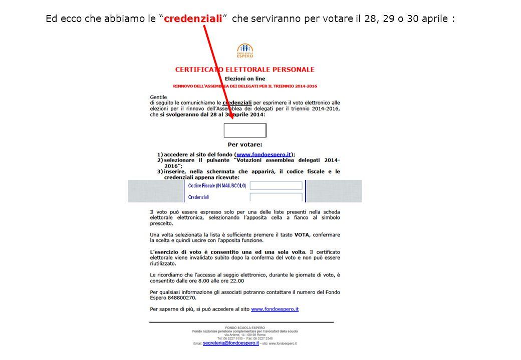 """credenziali Ed ecco che abbiamo le """"credenziali"""" che serviranno per votare il 28, 29 o 30 aprile :"""