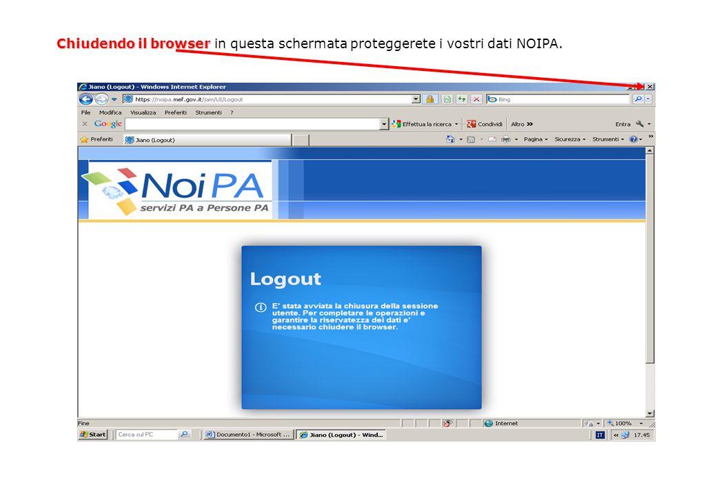 Chiudendo il browser Chiudendo il browser in questa schermata proteggerete i vostri dati NOIPA.