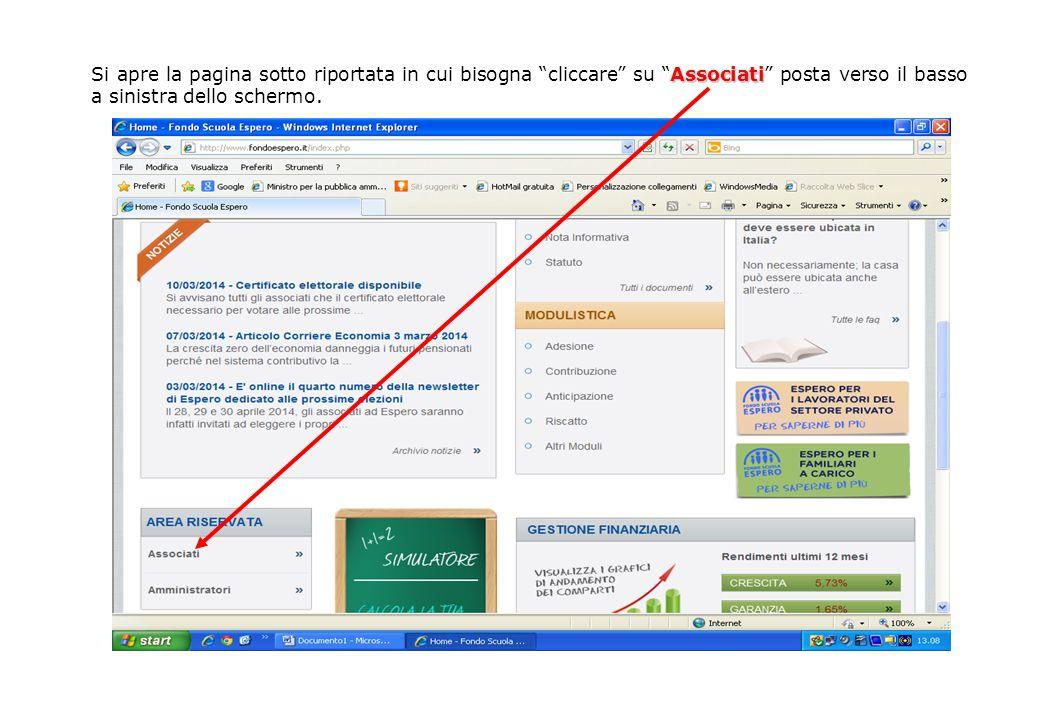 """Associati Si apre la pagina sotto riportata in cui bisogna """"cliccare"""" su """"Associati"""" posta verso il basso a sinistra dello schermo."""