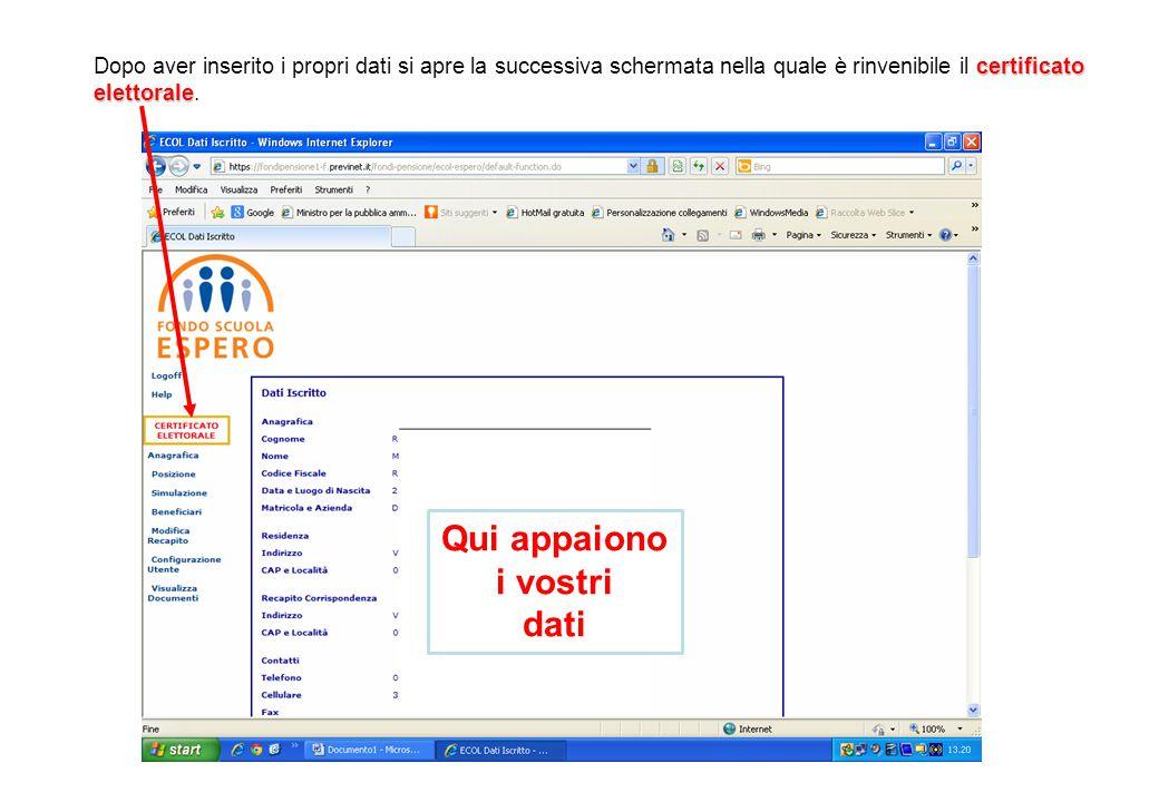 certificato elettorale Dopo aver inserito i propri dati si apre la successiva schermata nella quale è rinvenibile il certificato elettorale. Qui appai