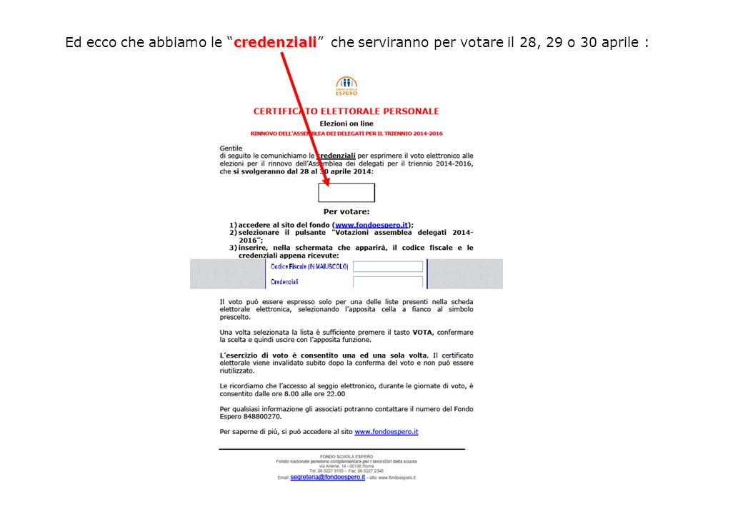 credenziali Ed ecco che abbiamo le credenziali che serviranno per votare il 28, 29 o 30 aprile :