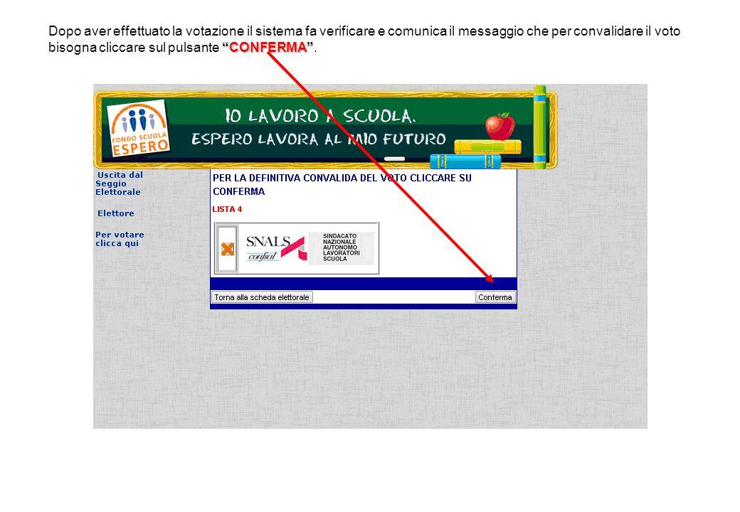 CONFERMA Dopo aver effettuato la votazione il sistema fa verificare e comunica il messaggio che per convalidare il voto bisogna cliccare sul pulsante CONFERMA .