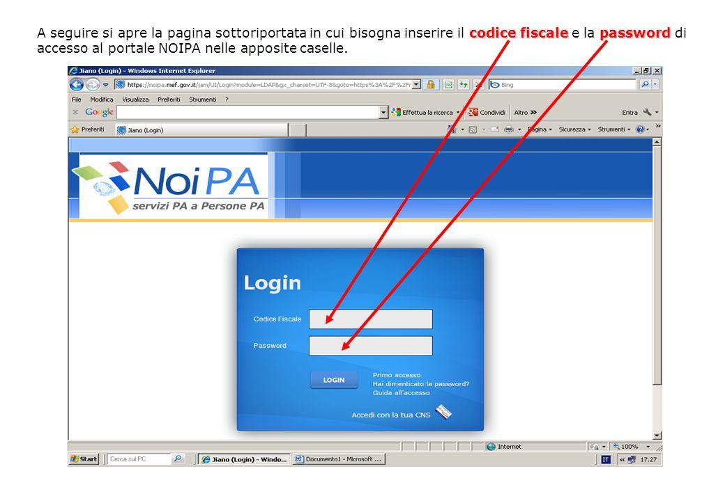 codice fiscalepassword A seguire si apre la pagina sottoriportata in cui bisogna inserire il codice fiscale e la password di accesso al portale NOIPA nelle apposite caselle.