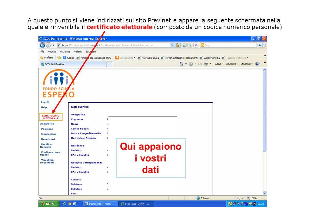 certificato elettorale A questo punto si viene indirizzati sul sito Previnet e appare la seguente schermata nella quale è rinvenibile il certificato elettorale (composto da un codice numerico personale) Qui appaiono i vostri dati