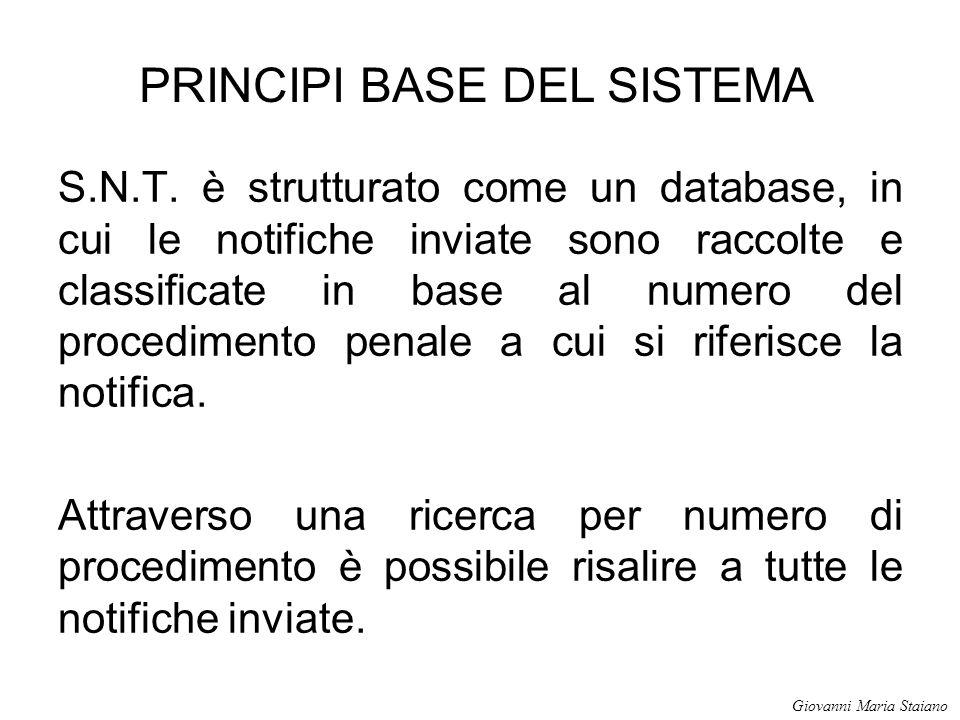 S.N.T. è strutturato come un database, in cui le notifiche inviate sono raccolte e classificate in base al numero del procedimento penale a cui si rif