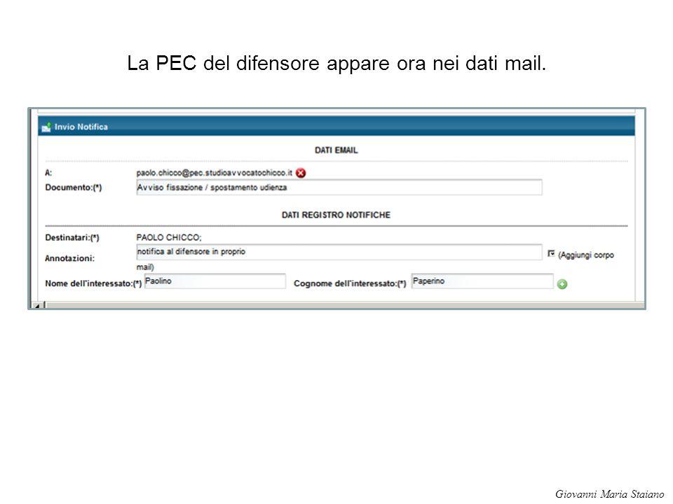La PEC del difensore appare ora nei dati mail. Giovanni Maria Staiano