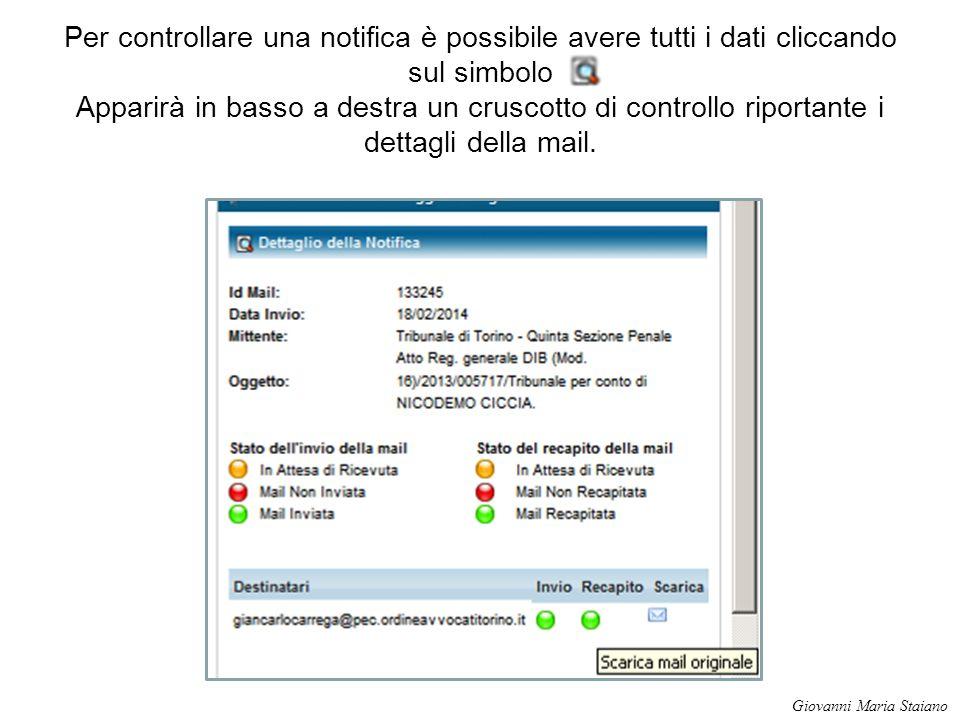 Per controllare una notifica è possibile avere tutti i dati cliccando sul simbolo Apparirà in basso a destra un cruscotto di controllo riportante i de