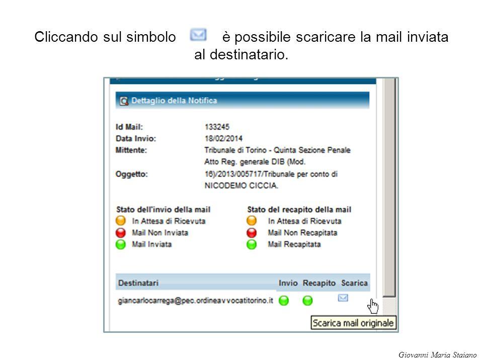 Cliccando sul simbolo è possibile scaricare la mail inviata al destinatario. Giovanni Maria Staiano