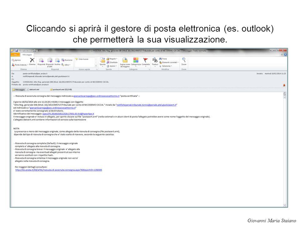 Cliccando si aprirà il gestore di posta elettronica (es. outlook) che permetterà la sua visualizzazione. Giovanni Maria Staiano