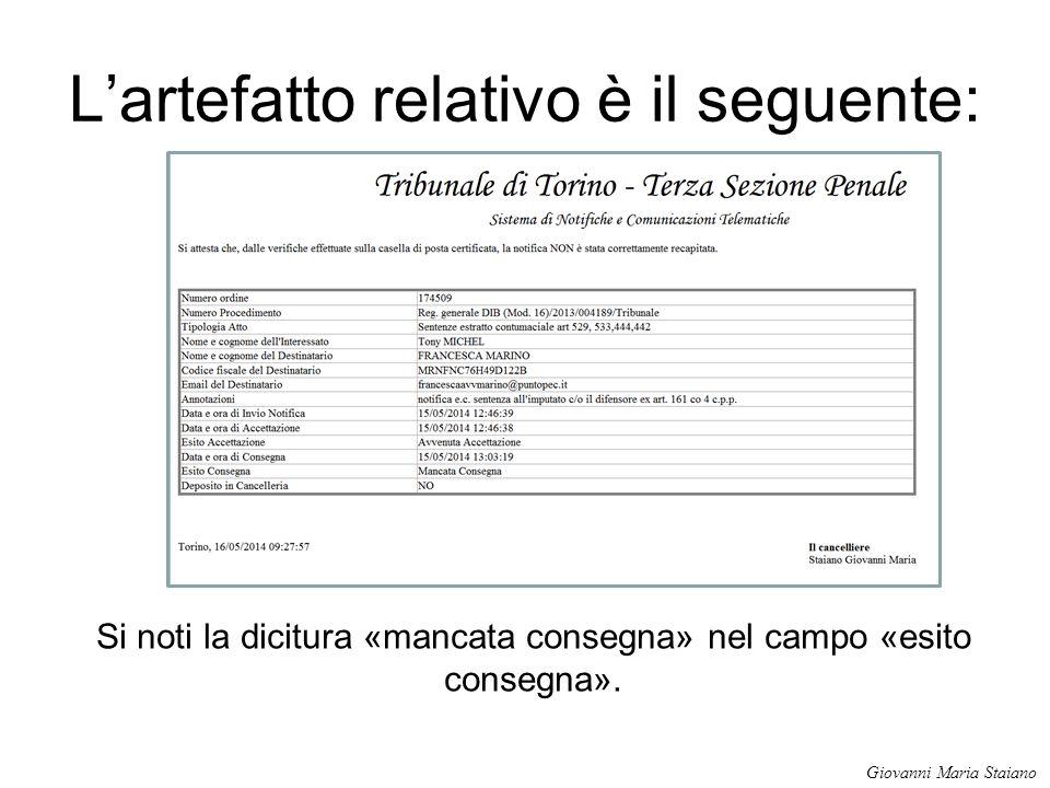 L'artefatto relativo è il seguente: Si noti la dicitura «mancata consegna» nel campo «esito consegna». Giovanni Maria Staiano